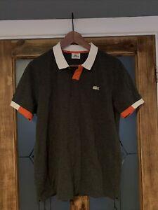 Lacoste Sport Dark Grey Orange White Polo Shirt Medium Size 4 Men's