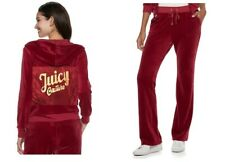 NWT JUICY COUTURE Tracksuit Velour Graphic Jacket Bootcut Pants Pomegranate L