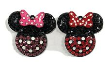 "Set Of 2 CLASSIC MINNIE MOUSE 2"" RHINESTONE ENAMEL CHARM PENDANTS"