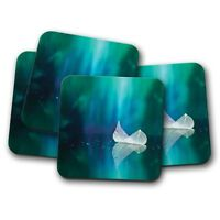 4 Set - Beautiful White Leaf Coaster - Lake Pond Fairy Magical Girls Gift #14283