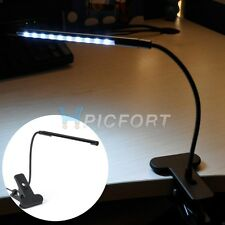 10 LED Desk Light USB Reading Desktop Lamp Bright Flexible Gooseneck and Clamp
