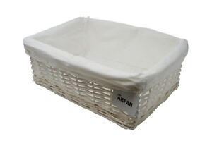 Hamper Storage Basket Large White Wicker With White Cloth Lining