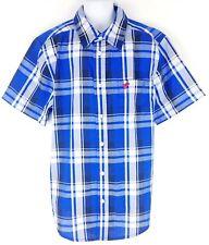 f38f0479e Wrangler Youth Boy Blue White Short Sleeve Button Down Western Shirt Large  10-12