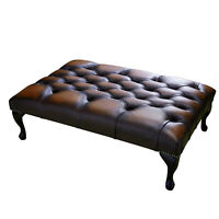 Large Rectangle Chesterfield Table Ottoman 100% Antique Brown Leather