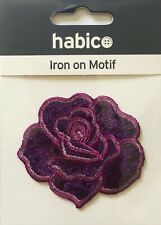 Habico Velvet Purple Rose Flower Iron On Motif Patch Child Adult Embellishment