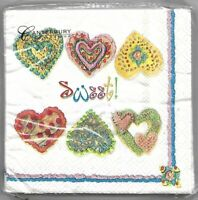 20 Ct Paper Cocktail Napkins Sweet Hearts Canterbury 10 x 10 Inch Decoupage New