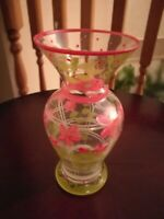 "Tracy Porter  7 3/4"" long clear glass hand painted pink, green, white vase."