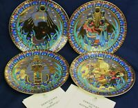 Royal Worcester LEGENDS OF THE NILE Egyptian x4 plates  22ct gold design