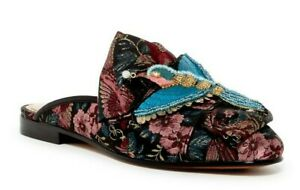 NEW Sam Edelman PETERS Black Birds Embellished Brocade Bow Mules Shoes 9.5