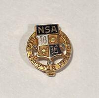 Vintage NSA Past Chapter President 10k Gold Lapel Pin W/ 3 Diamonds - 2.4 Grams