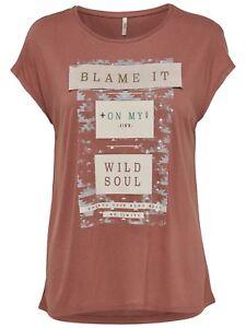 60/17 NEU ONLY Damen T-Shirt Oberteil onlBLAME TOP Gr. M kurzarm rotbraun Print