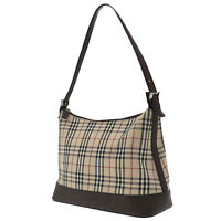 Burberry Classic Check Hand Bag Beige Brown Canvas Leather Authentic #MM35 O