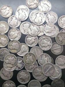 Full  Roll of 50 worn Silver Mercury DImes    4.99 ship