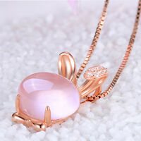 Fashion Girl Lovely Pink Lotus Stone Rabbit Shape Chain Necklace Best Quality