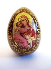 Ikonen Ei aus Holz Mutter Gottes mit Kind Ikone Russland