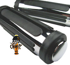 Old School Motorradgriffe Set schwarz chrom plus Gasgriffhülse für Zoll Lenker