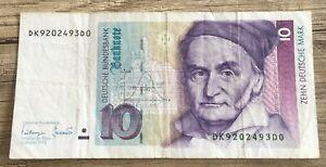 ♛♛♛ 10 DM Banknote vom 1.Oktober 1993 ☆♛ ☆ Deutsche Mark Schein  DK9202493D0 ♛♛♛
