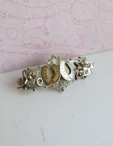 Antique Victorian Sterling SILVER Lucky Horseshoe BROOCH