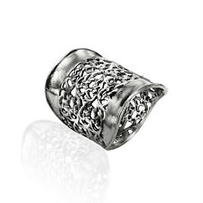 SHABLOOL Women's 925 Sterling Silver Ring Statement Weave Filigree Lace Design