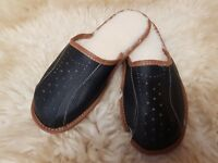 Men's Sheepskin Wool Black Leather Slippers Shoes Size 6 7 8 9 10 11 12 Mules BW