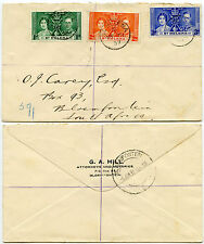 ST HELENA 1937 CORONATION FDC...G.A HILL BLOEMFONTEIN ENVELOPE