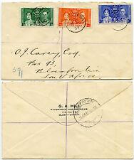 ST HELENA 1937 CORONATION FDC...G.A HILL BLOEMFONTEIN ENVELOPE