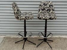 Pair of Vintage Mid Century Modern Retro Chrome Swivel Bar Stools Barstools