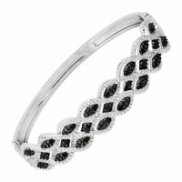 1/3 ct Black & White Diamond Bangle Bracelet in Rhodium-Plated Bronze, 7.5""