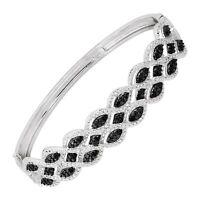 "1/3 ct Black & White Diamond Bangle Bracelet in Rhodium-Plated Bronze, 7.5"""