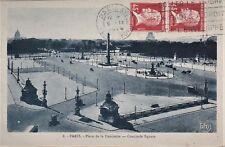 CP CARTE POSTALE PARIS PLACE  CONCORDE AFFRANCHT PAIRE YT 175 45c ROUGE PASTEUR