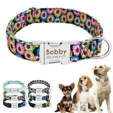 Nylon Cotton Personalized Dog Collar Pet Nameplate Custom Engrave ID Collar Tag