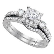14k White Gold Over 2Ct Princess Diamond Bridal Wedding Engagement Ring Band Set