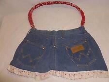 Vtg Retro Boho Hippie Shoulder Bag Purse Denim Wrangler Jean Shorts Hand Made