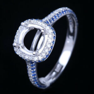 10K White Gold Semi-Mount Genuine Diamonds&Sapphires Engagement Ring Round 6.5mm
