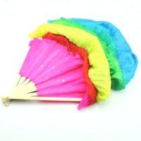 Hand Made Colorful Belly Dance Dancing Silk Bamboo Long Fans Veils For Folk E3X0
