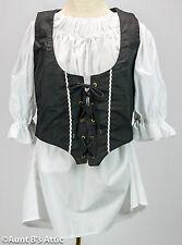 Renaissance Pirate Vest Ladies Black Poly/Cotton Laced Front Costume Vest