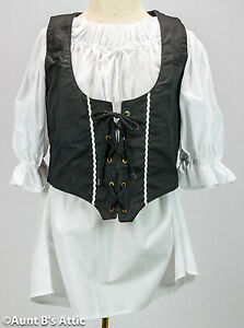 Renaissance Pirate Vest Ladies Black Poly/Cotton Laced Front Costume Vest