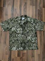 REYN SPOONER Design Thai Silk Tropical Foliage Hawaiian Shirt Retired EUC LARGE