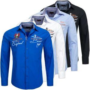 Früchtl Herren Langarm Hemd Slim Fit Polo Shirt NEU