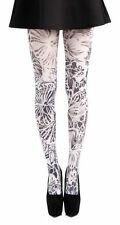 BEAUTIFUL FLORAL MONOCHROME TIGHTS SCENE BOHO GLAM BLACK & WHITE ART NOUVEAU