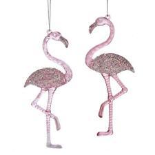 "Kurt Adler Pink Flamingo 6"" Christmas Ornament Set of 2"