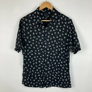 H&M Mens Button Up Shirt Size S Small Black Palm Trees Short Sleeve Collared