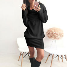 Winter Autumn New Women Long Sleeve BodyCon Slim Knit Party Sweater Mini Dress