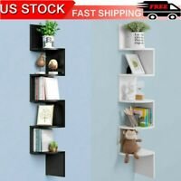 5-Tier Wall Shelves Book Shelf Rack Floating Mounted Storage Display Home Decor