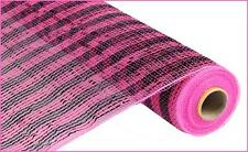 Hot Pink & Black Deco Poly Mesh 21 in 10 Yards Wide Foil Stripe re1063jx NEW