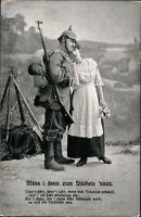 Ansichtskarte PK 1.WK Soldat & Frau Muss i denn zum Städtele ´naus Feldpost 1915