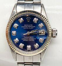 Estate $8000 BLUE 18k White Gold SS ROLEX Ladies DATEJUST Tiffany & Co Watch WTY
