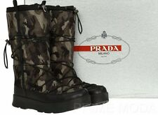 NEW PRADA LADIES CAMO TESSUTO LEATHER LOGO WINTER SNOW BOOTS SHOES  41/US 11
