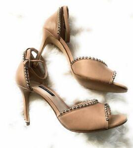 Nine West women's Jellint Ankle Strap Buckle Closure Sandals - Beige 8.5
