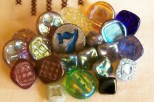 21 vintage unused glass buttons/mostly clear with lustred tops 7-15 mm.
